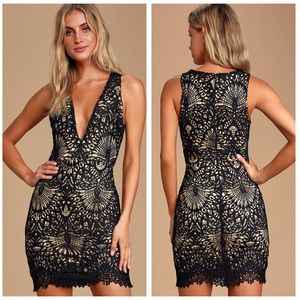 Lulu's Truly Beloved Black Lace Bodycon Dress